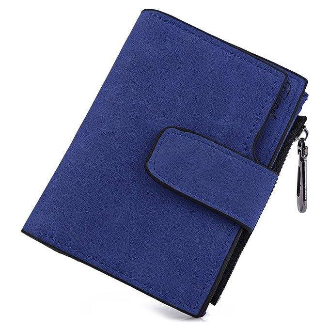 XXIAZHI,Lady color sólido carta cierre rápido cremallera corto embrague billetera(color:AZUL