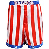 AMNPOLEN Adult Mens American Flag Boxing Satin Shorts Trunk Costume