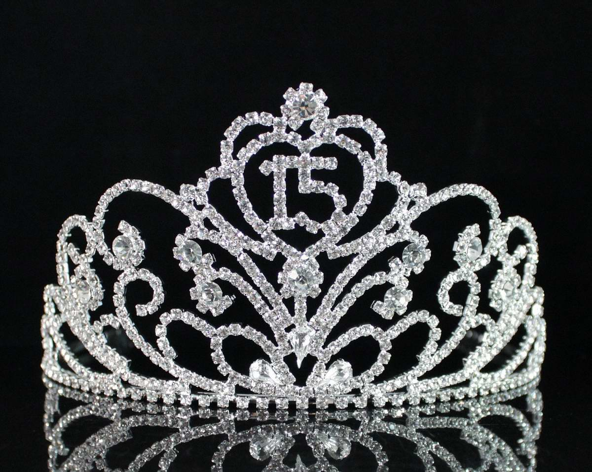 Janfashions Quinceanera Coronas de Quinceañeras Sweet 15 Fifteen 15th Birthday Party Clear White Austrian Rhinestone Crystal Princess Hair Jewelry Tiara Crown With Hair Combs T1813 Silver by Janefashions