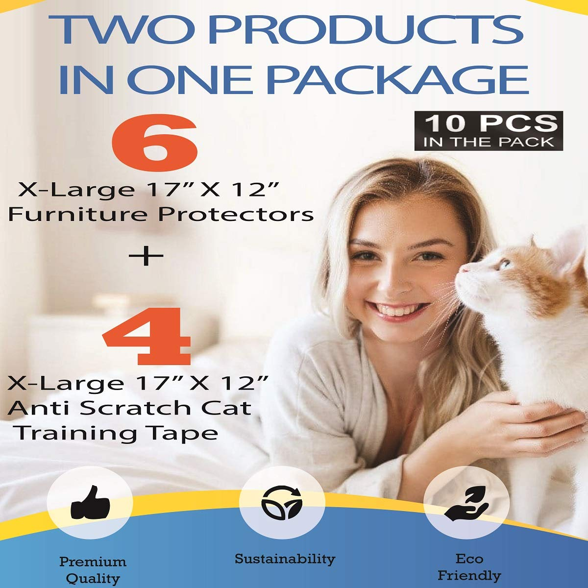 Cat Scratch Deterrent Pack 6 XL Furniture Protectors from Cats + 4 XL Double Sided Training Tape - Pet Corrector - Corner Protector Cat Repellent Anti Scratching Accessories
