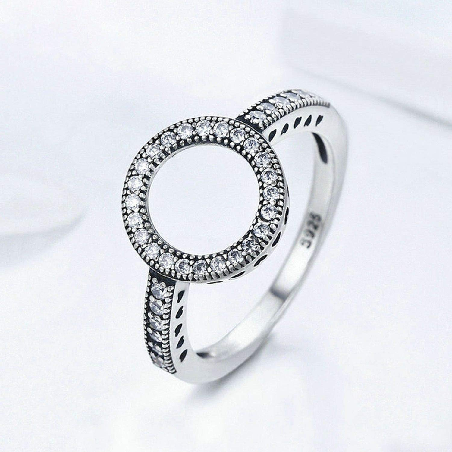 juan 9 Ring 2019 Real 925 Sterling Silver Lucky Circle Finger Rings for Women Fashion Jewelry Gift,8,White