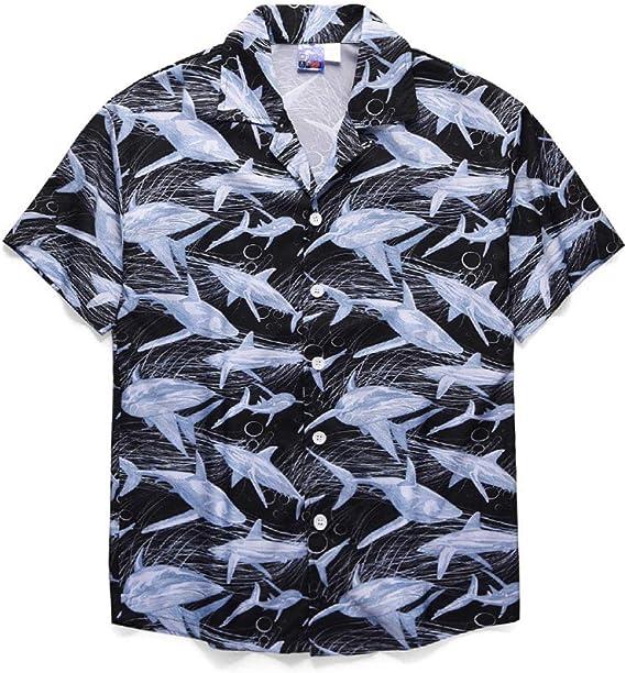 Camisa De Hombre Camisa De Playa Hawaiana De Manga Corta Suelta Pareja Top Estampado De Ballena Hawaiana: Amazon.es: Ropa y accesorios