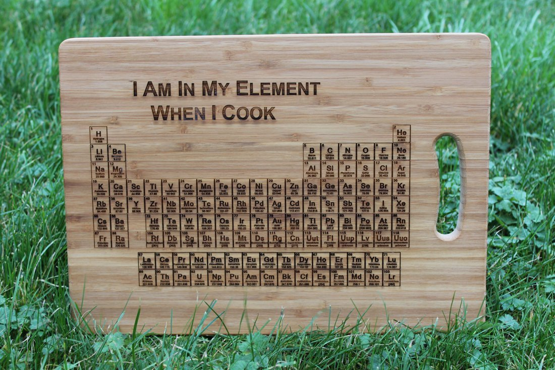 Periodic table of elements i enjoy cookingriodically periodic table of elements i enjoy cookingriodically personalised engraved chopping board amazon kitchen home urtaz Image collections