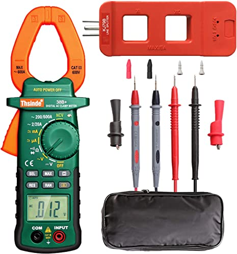 2000 Count Digtial Clamp Meter, Auto-Ranging Multimeters AC DC Volt AC DC Current Ohm Diode Resistance Test Voltage Tester Clamp Meter AC Line Splitter