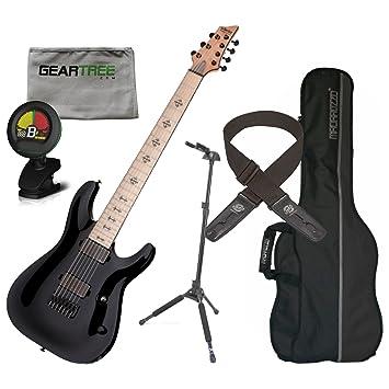 Schecter 410 Jeff Loomis JL (7 cuerdas Guitarra eléctrica color negro brillante w/funda, gamuza, Lock-It correa, sintonizador, y soporte de bloqueo: ...