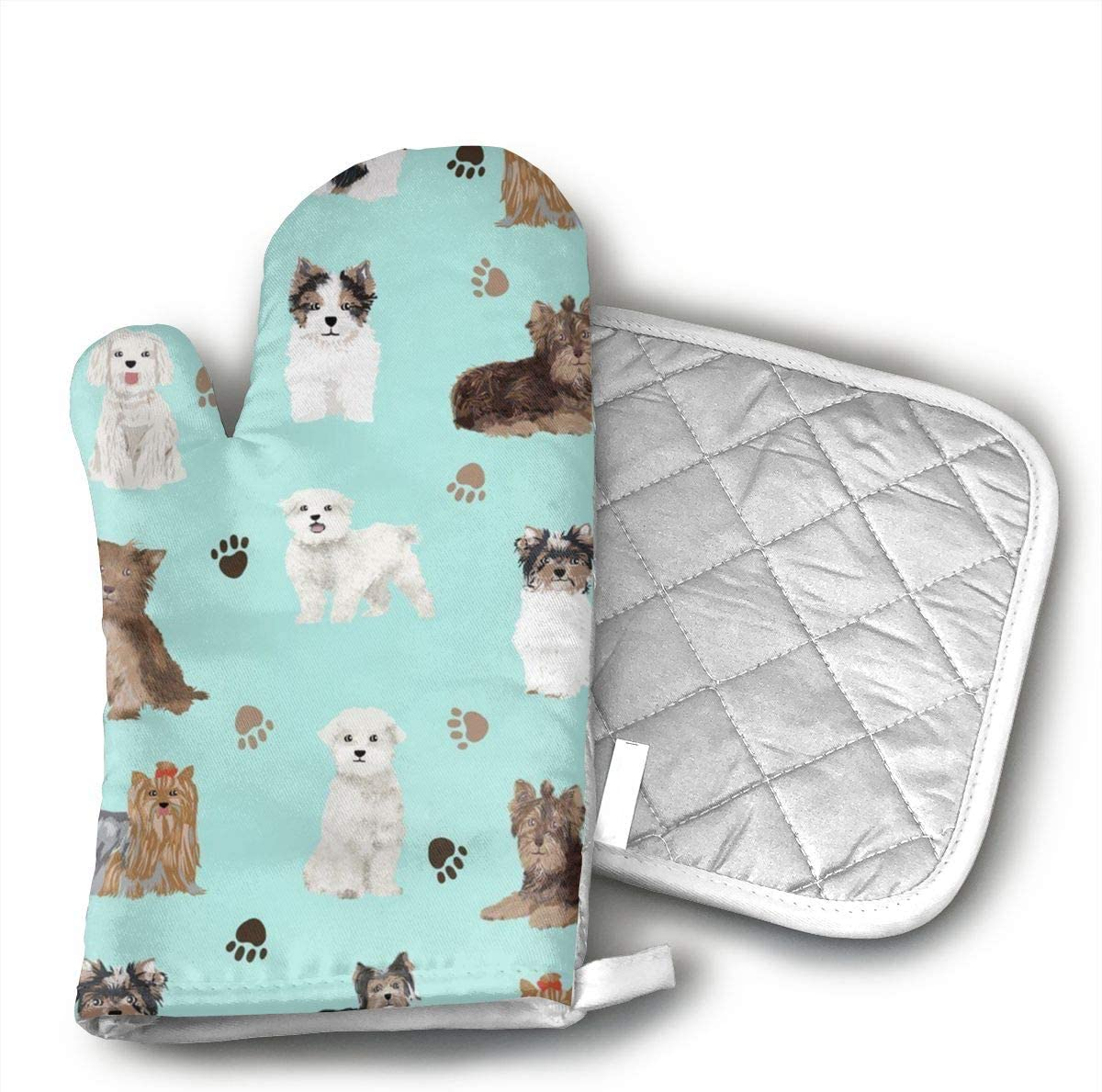 Sjiwqoj8 Yorkie Maltese Biewer Terriers Dogs Kitchen Oven Mitts,Oven Mitts and Pot Holders,Heat Resistant with Quilted Cotton Lining,Cooking,Baking,Grilling,Barbecue