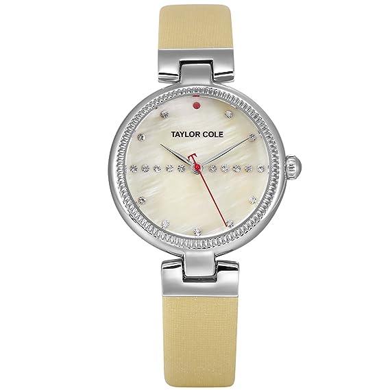 Taylor Cole Reloj Mujer de Moda con Correa de Cuero Cristal Analógico Cuarzo Reloj de pulsera Caqui TC119: Amazon.es: Relojes