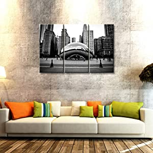 """3 Piece Chicago Cityscape Canvas Art Wall Decor The Cloud Gate in Millennium Park Picture Canvas Paintings Illinois Famous Scenery Modern Wall Art Stretched and Framed Ready to Hang, 28""""x14""""x3 Panels"""