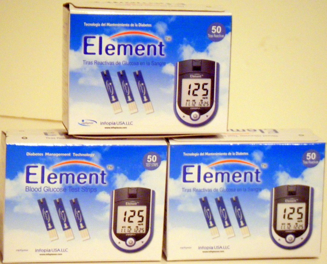 Amazon.com: 150 ELEMENT Blood Glucose Test Strips - (3 Boxes of 50): Health  & Personal Care