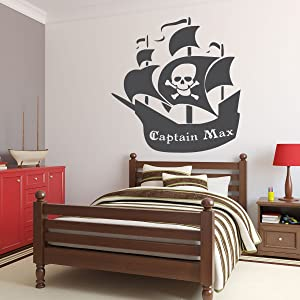 CustomVinylDecor Custom Name Pirate Ship Wall Decal | Personalized Removable Vinyl Sticker for Boy or Girl Bedroom, Playroom, School Classroom, Nursery, Preschool | Black, White, Other Colors