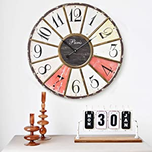 JUMBO DECOR Large Rustic Colorful Wall Clock for Kitchen,Living Room,Home,Vintage Wood Wall Clock,24 Inch Round Battery Operated Wall Clock