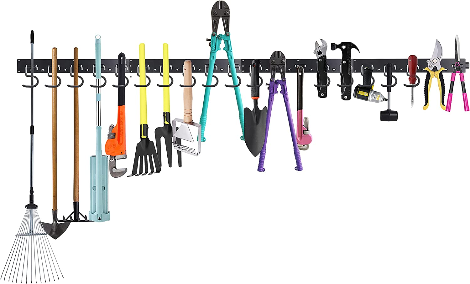 Finnhomy 64 Inch Garage Storage Hooks, Wall Mounted Tool Organizers,Wall Organizer for Garden Tools and Yard Tools, Tool Hanger and Mop Broom Holder with 4 Rails 20 Hooks & Bonus Storage Straps