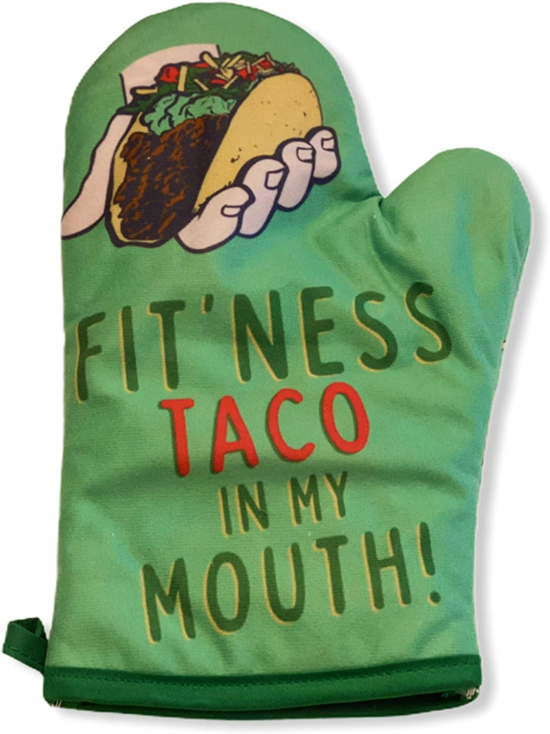 Crazy Dog T-Shirts Fitness Taco Funny Kitchen Apron and Oven Mitts Humorous Gym Graphic Novelty Cooking Accessories (Oven Mitt)