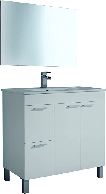 Oferta amazon: Artikmobel 305450BO - Mueble de baño Aktiva con 2 puertas y espejo, Blanco Brillo, 80x 80x 45 cm