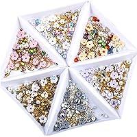 Solustre 6Pcs Nail Art Rhinestones Nail Flower Beads Nail Art Crystal Jewels Nail Gems Nail Studs for Tablets Scrapbooks Cell Phones Supplies