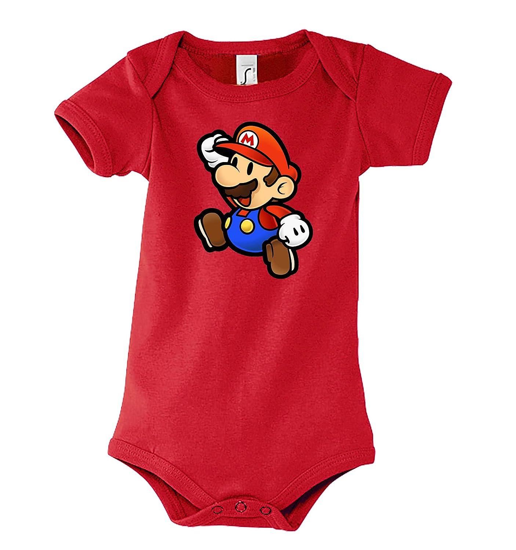 TRVPPY Baby Jungen & Mä dchen Kurzarm Body Strampler Modell Super Mario, Grö ß e 3-24 Monate in vielen Farben