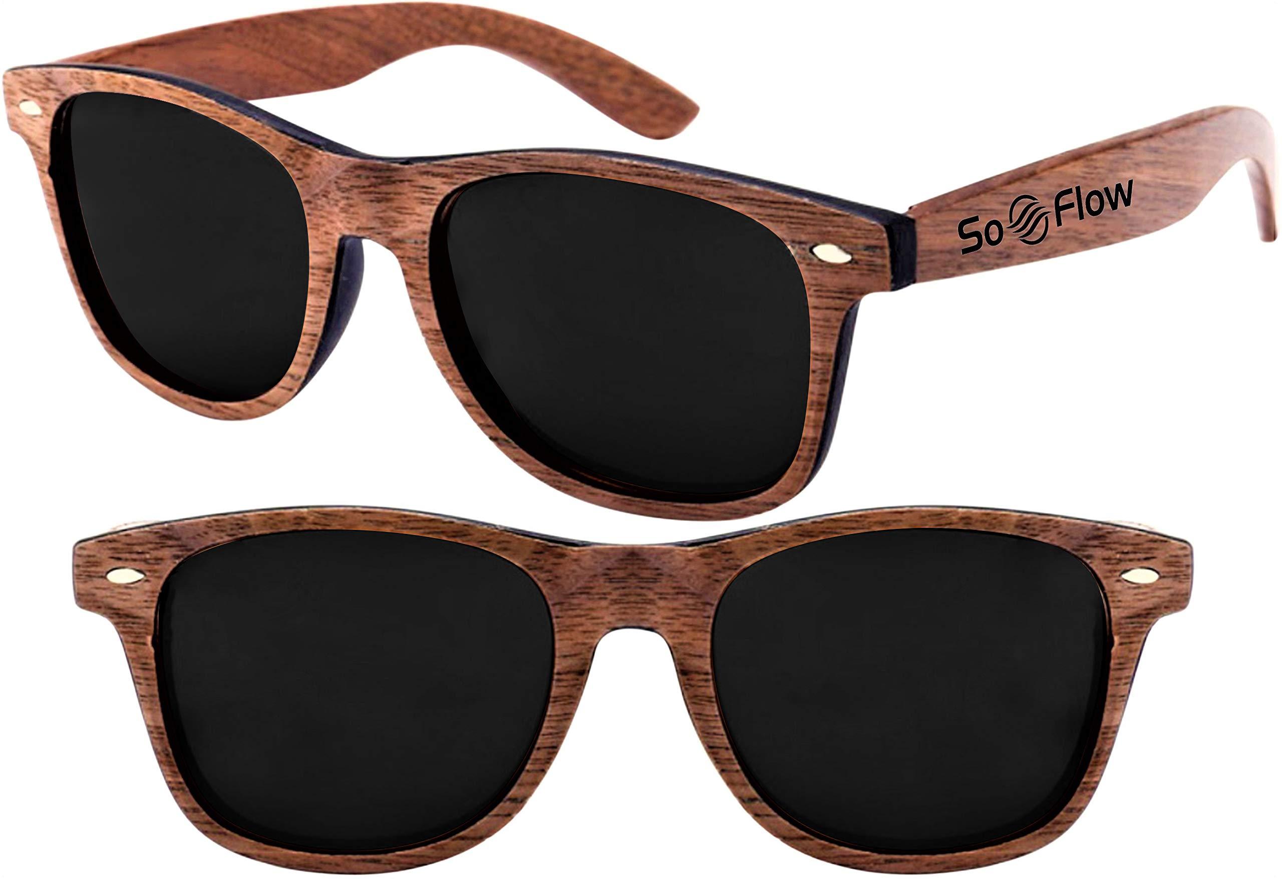 ffc13ed993 Polarized Walnut Wood Wayfarer Sunglasses Men Women Wooden Mirrored Lens  UV-400 (Black)
