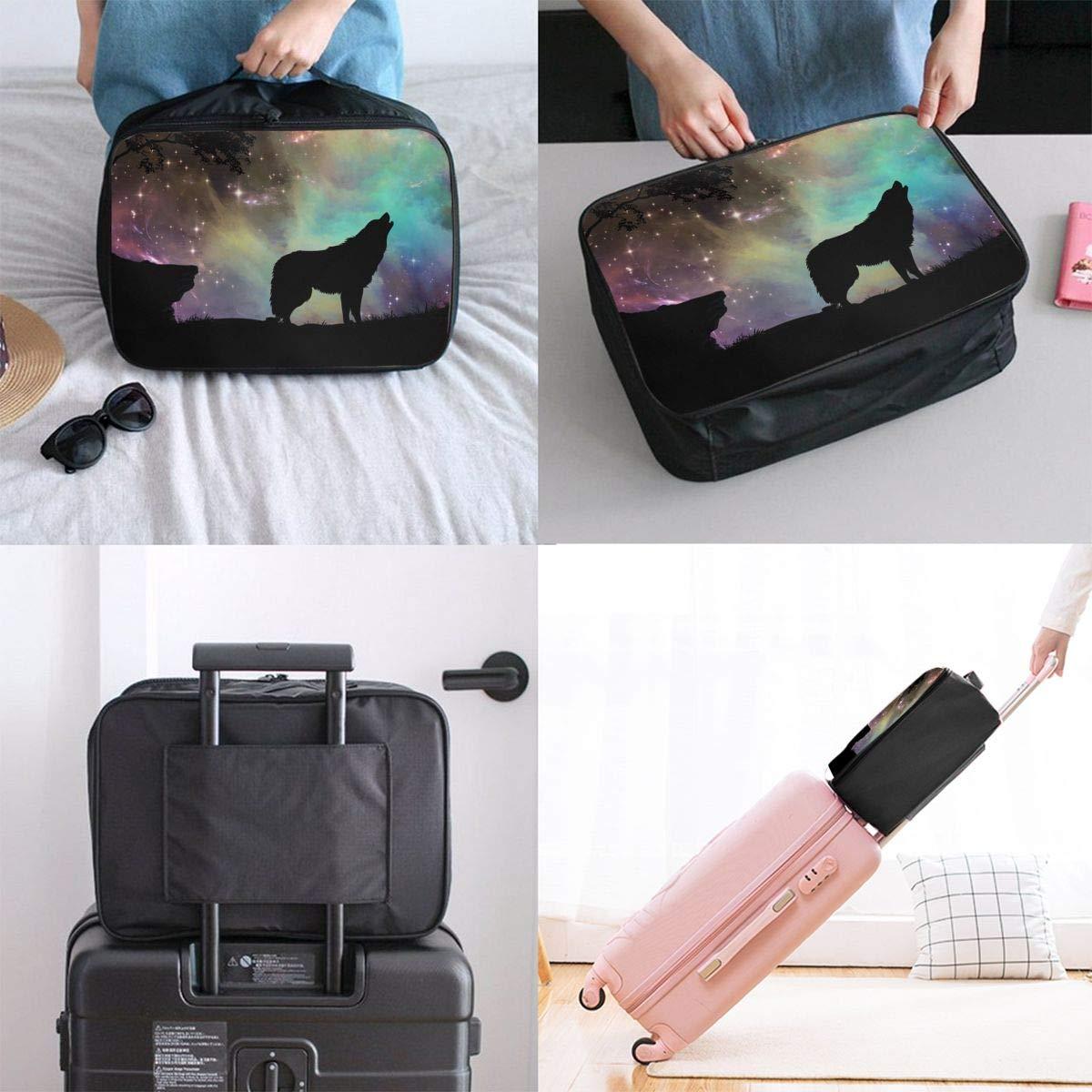 Travel Bag Galaxy Wolf Waterproof Large Capacity Portable Luggage Bag