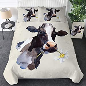 Sleepwish Watercolor Cow Bedding Set for Kids and Adults 3 Pieces Cute Farm Animal Duvet Cover Vintage Yellow Daisy Flower Bedspread (Full)