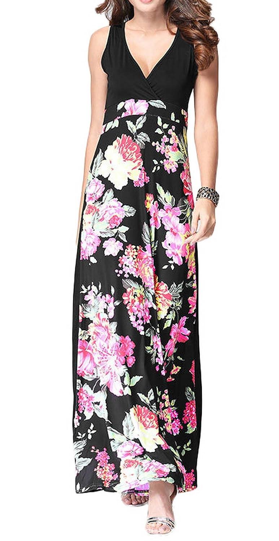 Jixin4you Women Chic Sleeveless Floral V Neck Beach Maxi Dress 163271A022
