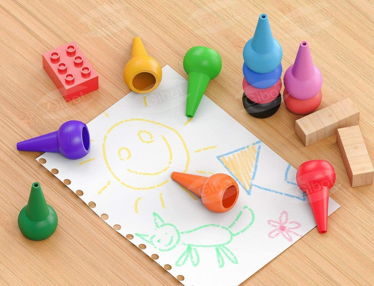 Sicher und nicht toxisch. 12 Farben Zeichenstift Wachsmalstifte Stapelbares Spielzeug f/ür Kinder Kleinkinder und Kinder GiBot Kleinkinder Wachsmalstifte Handfl/ächengriff Wachsmalstifte