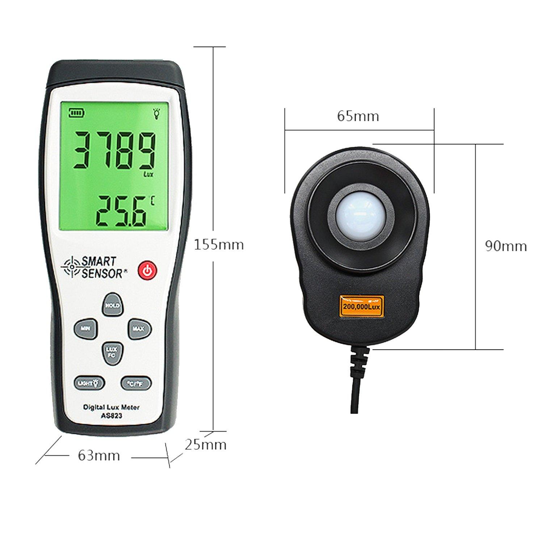 Digital Lux Meter Photometer Illuminometer Spectrometer Spectrophotometer High Precision Light Meter 200,000lux AS823 by WULE-Digital multimeter (Image #2)