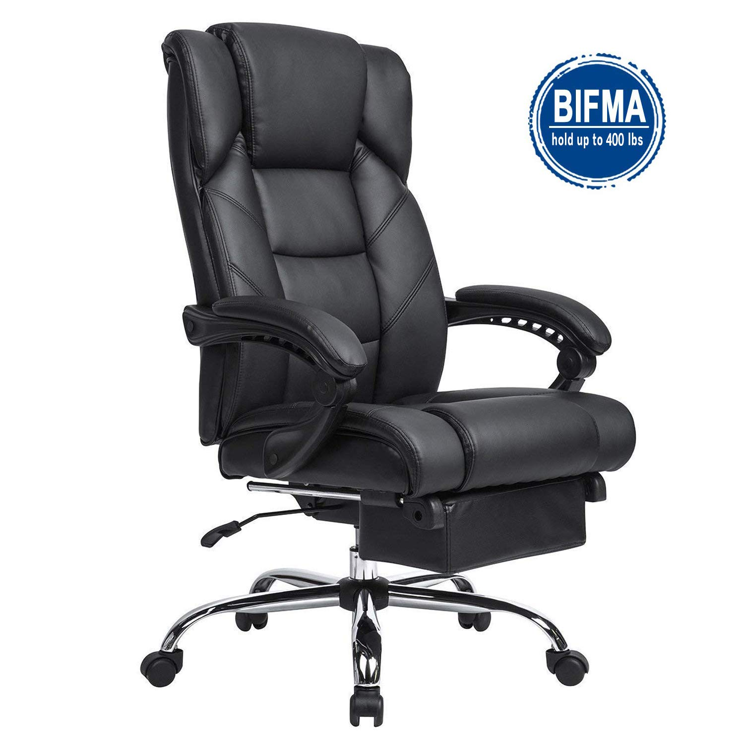 KADIRYA Reclining Leather Office Chair-High Back Executive Chair with Adjustable Angle Recline Locking System and Footrest Thick Padding for Comfort and Ergonomic Design 400LBS