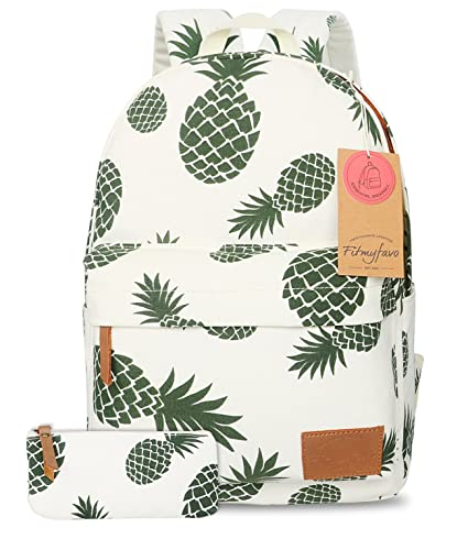 FITMYFAVO Backpack for Girls with Multi-Pockets | School Bookbag Daypack Travel Bag (BP101. Pineapple & Wallet)
