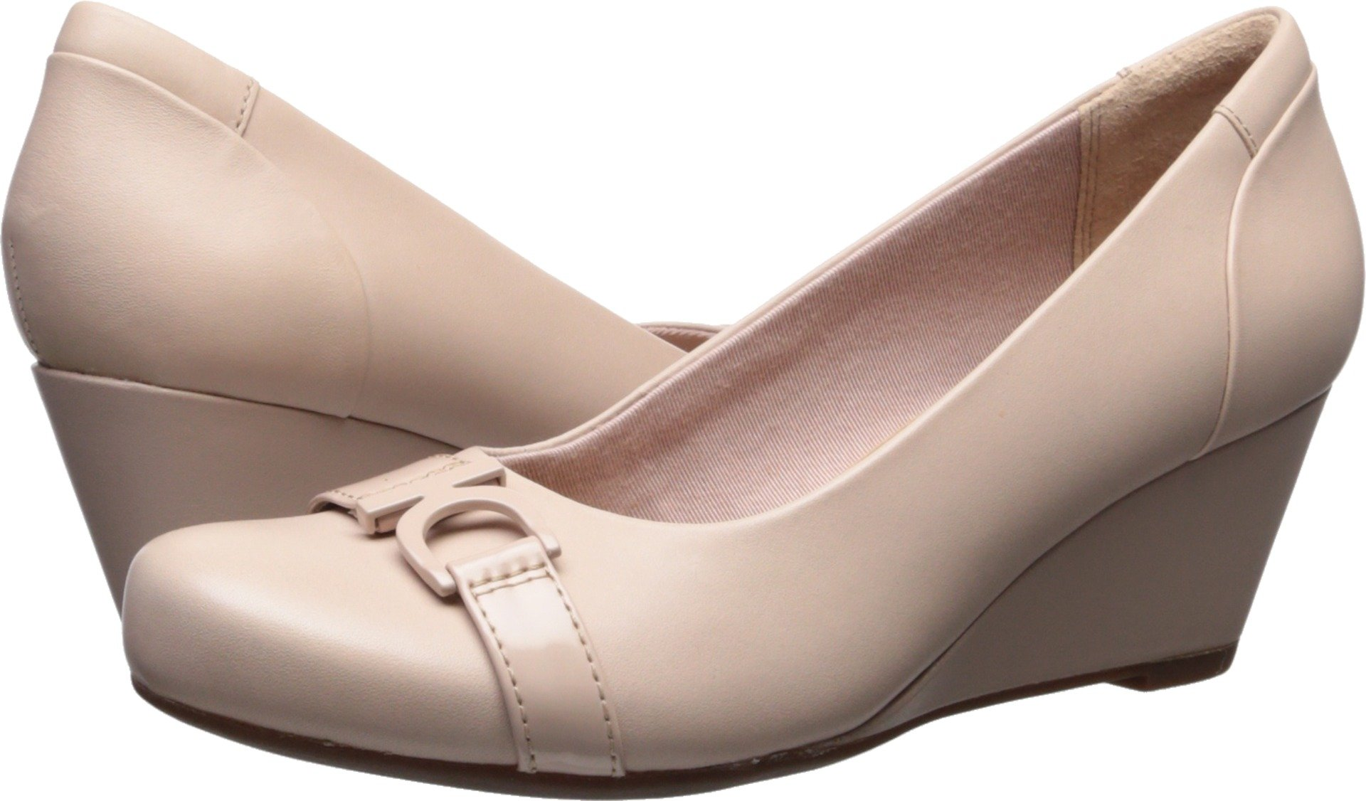 CLARKS Women's Flores Poppy Pump, Cream Leather, 8 B(M) US