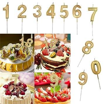 Binmer Candles Number10 Pcs Gold Number 0 9 Birthday Cake