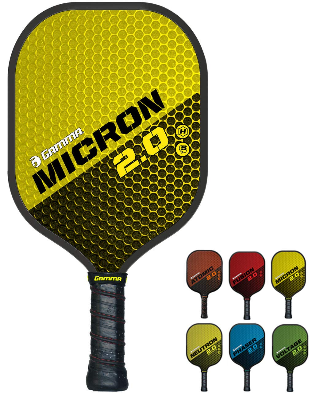 GAMMA Sports 2.0 Pickleball Paddles: Micron 2.0 Pickleball Rackets - Textured Fiberglass Face - Mens and Womens Pickle Ball Racquet - Indoor and Outdoor Racket - Yellow Pickle-Ball Paddle - 7.6 oz by Gamma