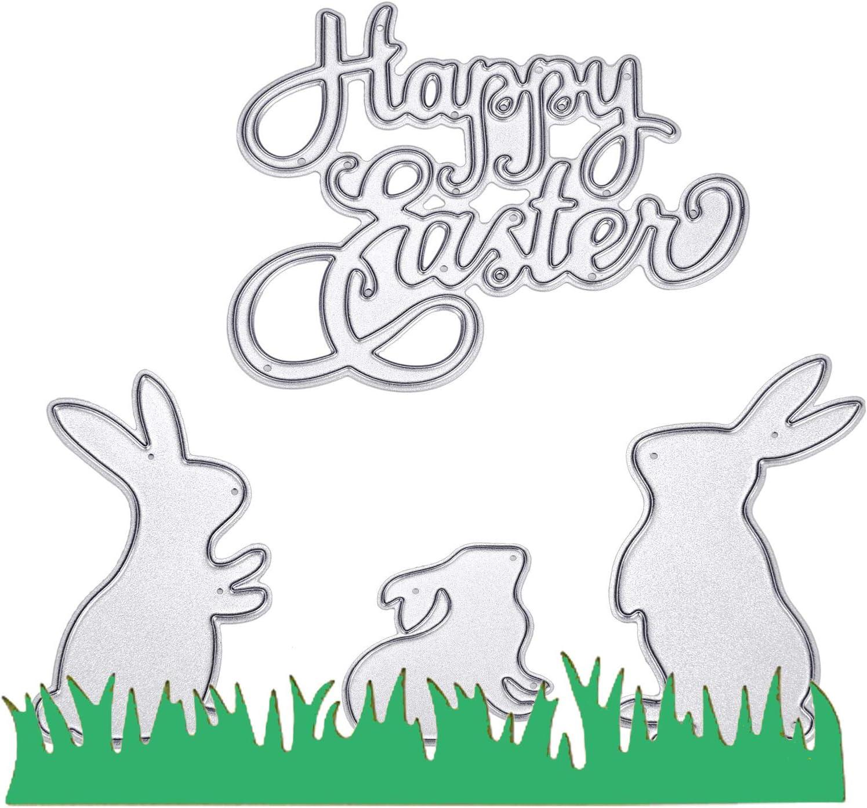 Easter Eggs Grass Border Cutting Dies Greeting Card Scrapbook Stencil DIY Crafts