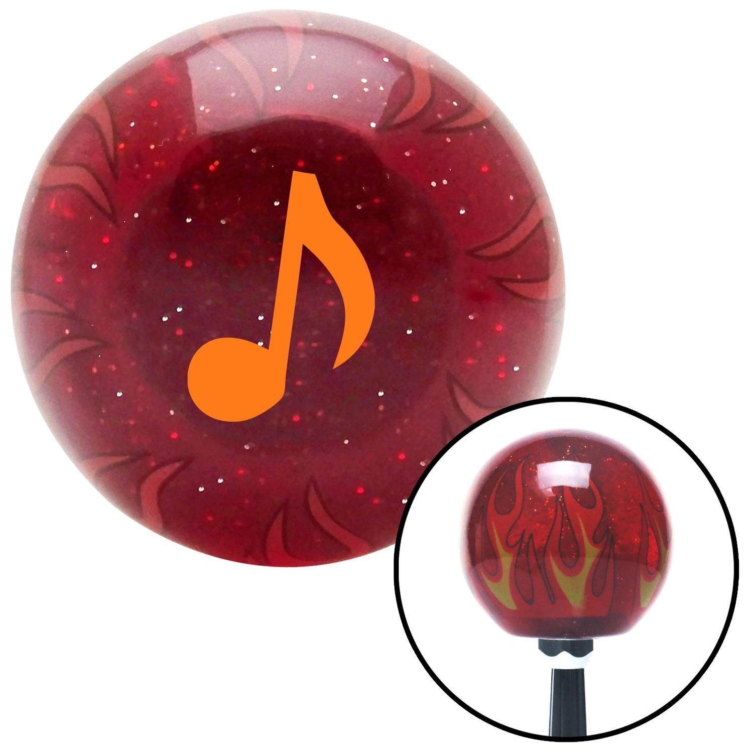 Orange Music Note American Shifter 238037 Red Flame Metal Flake Shift Knob with M16 x 1.5 Insert