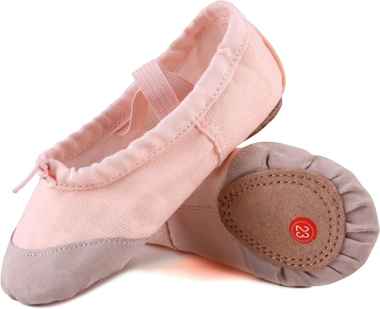 LONSOEN Ballet Slipper Shoes Stretch Satin Ballerinas Dance Yoga Flats with Pure Ribbons for Girls Toddler//Little Kid//Big Kid