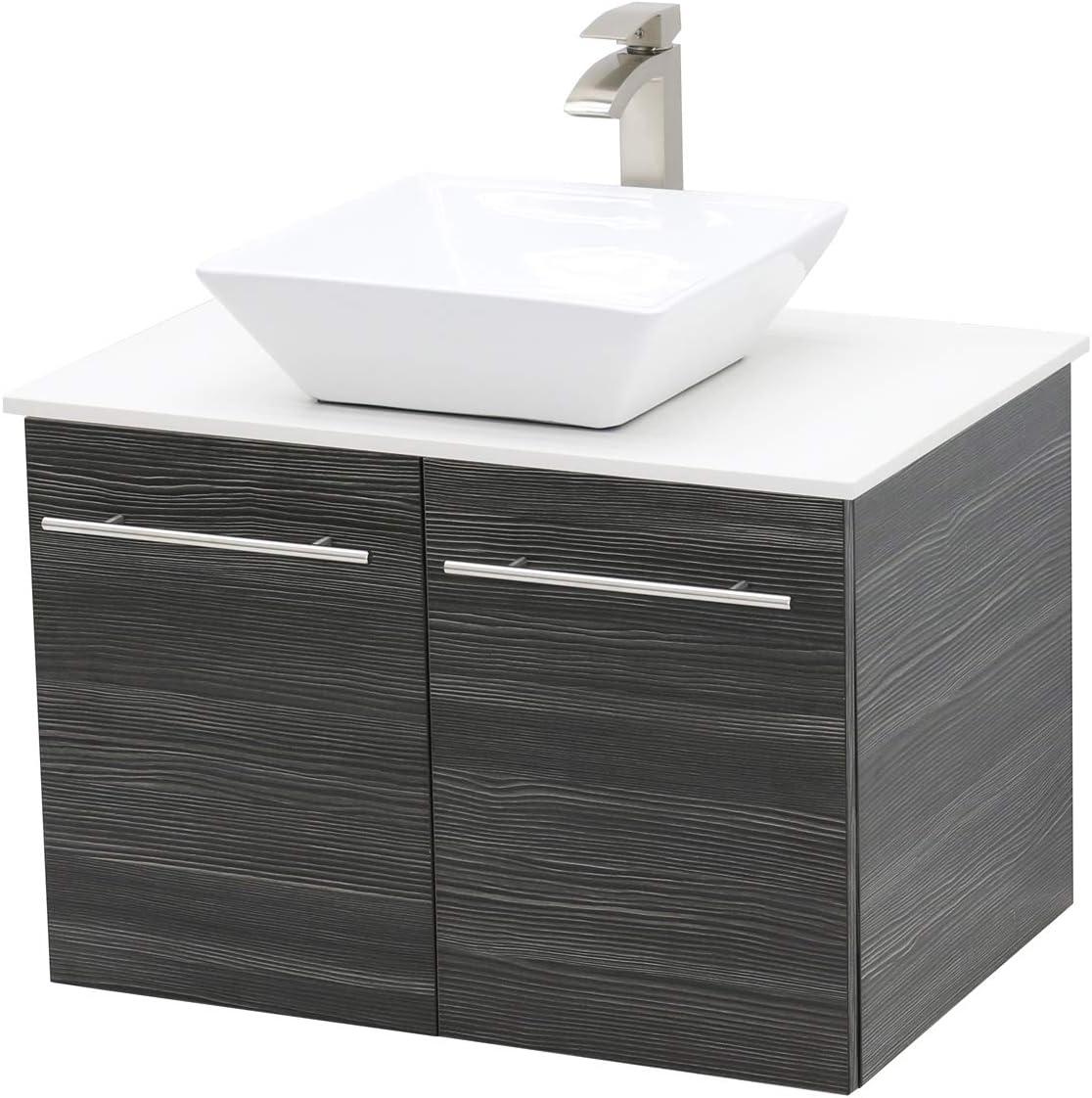 WindBay Wall Mount Floating Bathroom Vanity Sink Set. Dark Grey Vanity, White Flat Stone Countertop Ceramic Sink – 30