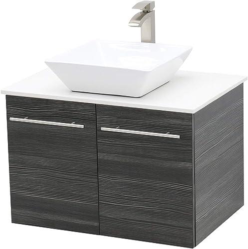 WindBay Wall Mount Floating Bathroom Vanity Sink Set. Dark Grey Vanity