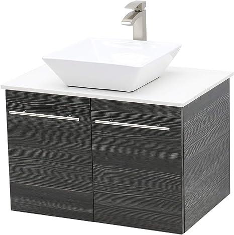 Amazon Com Windbay Wall Mount Floating Bathroom Vanity Sink Set Dark Grey Vanity White Flat Stone Countertop Ceramic Sink 30 Kitchen Dining
