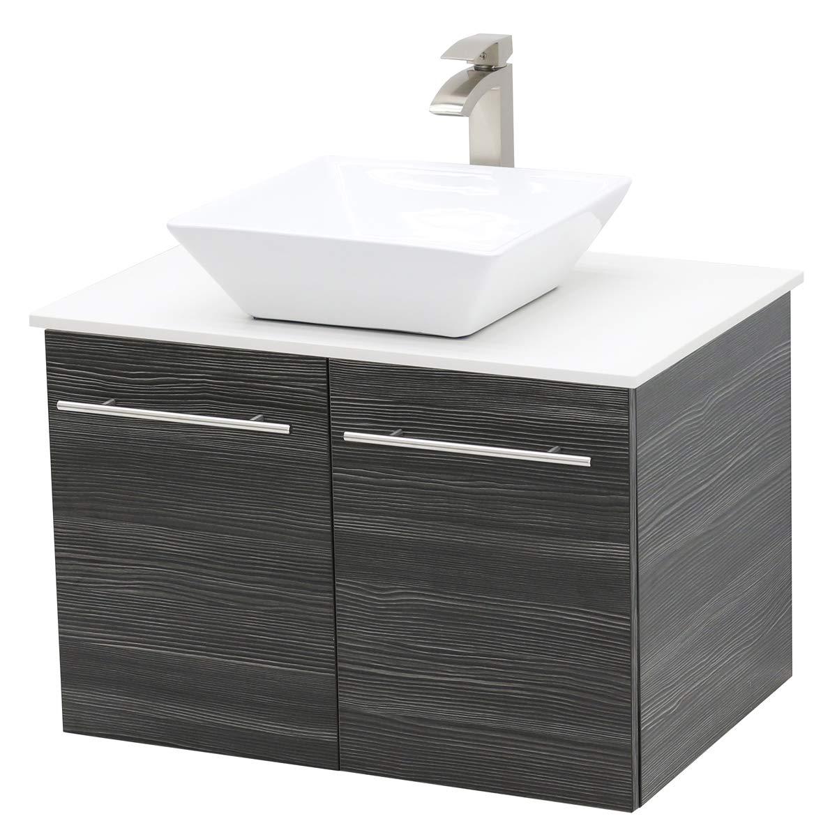 WindBay Wall Mount Floating Bathroom Vanity Sink Set. Dark Grey Vanity, White Flat Stone Countertop Ceramic Sink – 36