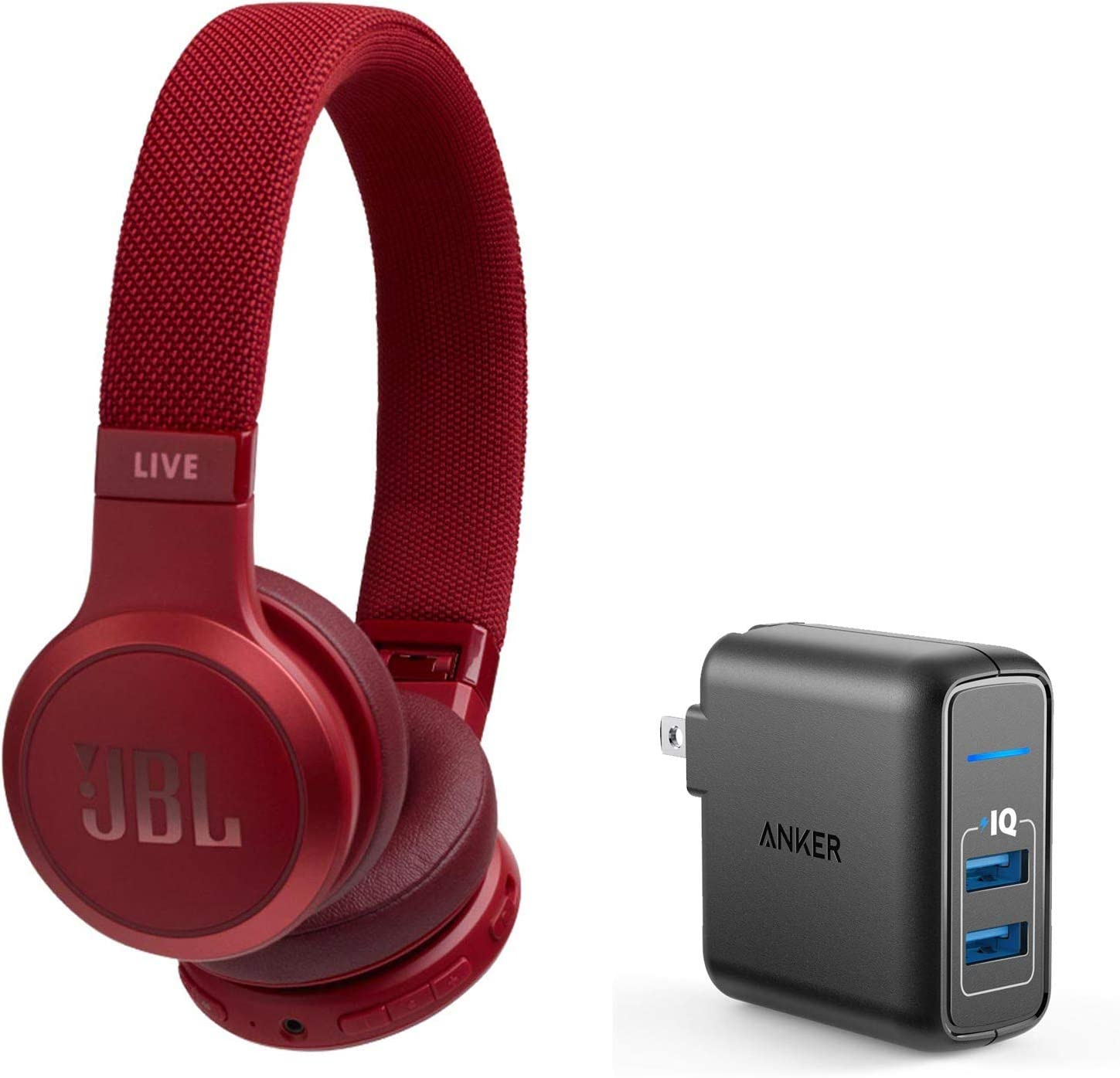 JBL Live 400BT On-Ear Wireless Bluetooth Headphones Bundle with Anker PowerPort Elite 2 Port USB Wall Charger - Red
