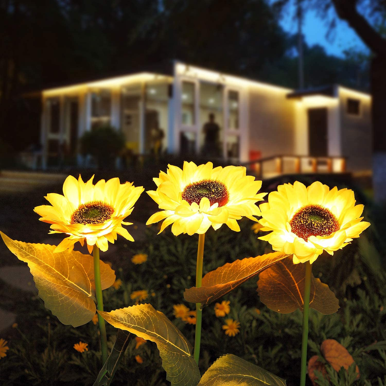Solar Garden Lights, [3 Pack] Solar Lights Outdoor Decorative, LED Waterproof Sunflower Solar Landscape Lighting for Lawn, Patio & Yard Decor
