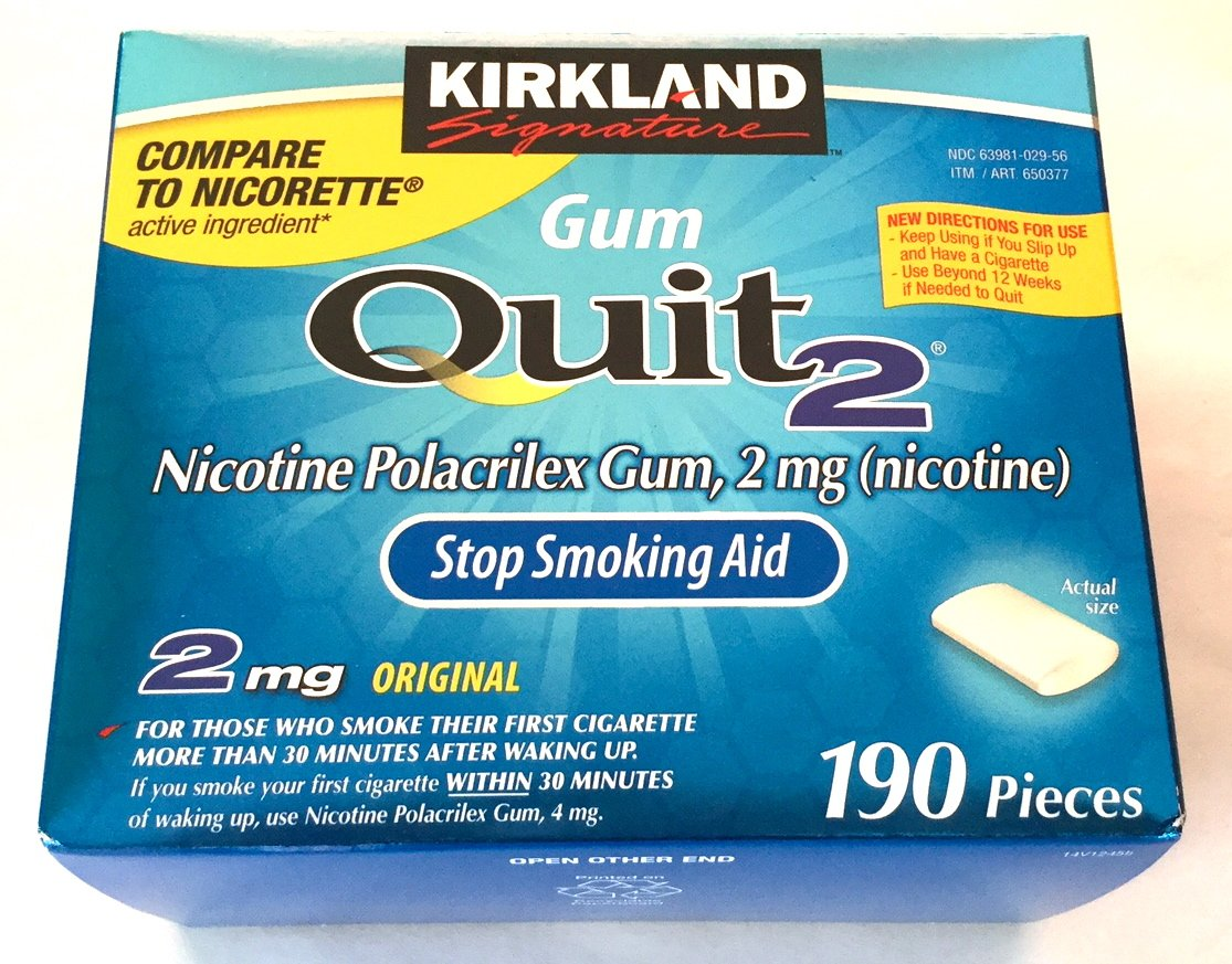 Kirkland Signature Quit Smoking Gum, 2 mg, 190 Count