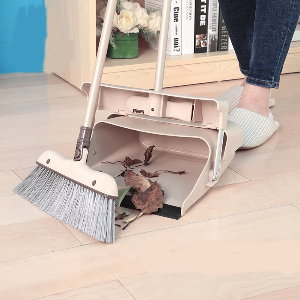 YOYOHOME Duo-Pan Dustpan & Lobby Broom Combo 3 Foot Overall Height (8131CM) (brown-1) B-12