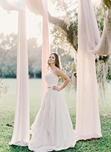 White and White Arch Drapes 2 Panels 6 Yards Chiffon Fabric Drapery for Party Ceremony Stage Reception Decorations Arbor Wedding Archway Ceremony Party Ceiling Decor Backdrop