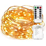 Fairy String Lights AndThere Battery Operated Waterproof 8 Modes Twinkling 50 LED String Light Copper Wire Firefly Lights Remote Control for DIY Party Bedroom Wedding Festival Garden Patio Porch Tent