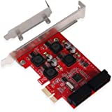 LTERIVER PCI Express to 2X 19Pin USB 3.0 Header-PCIE USB 3.0 Superspeed 5Gbps Expansion Card for Windows10,8.1,8,7, XP…