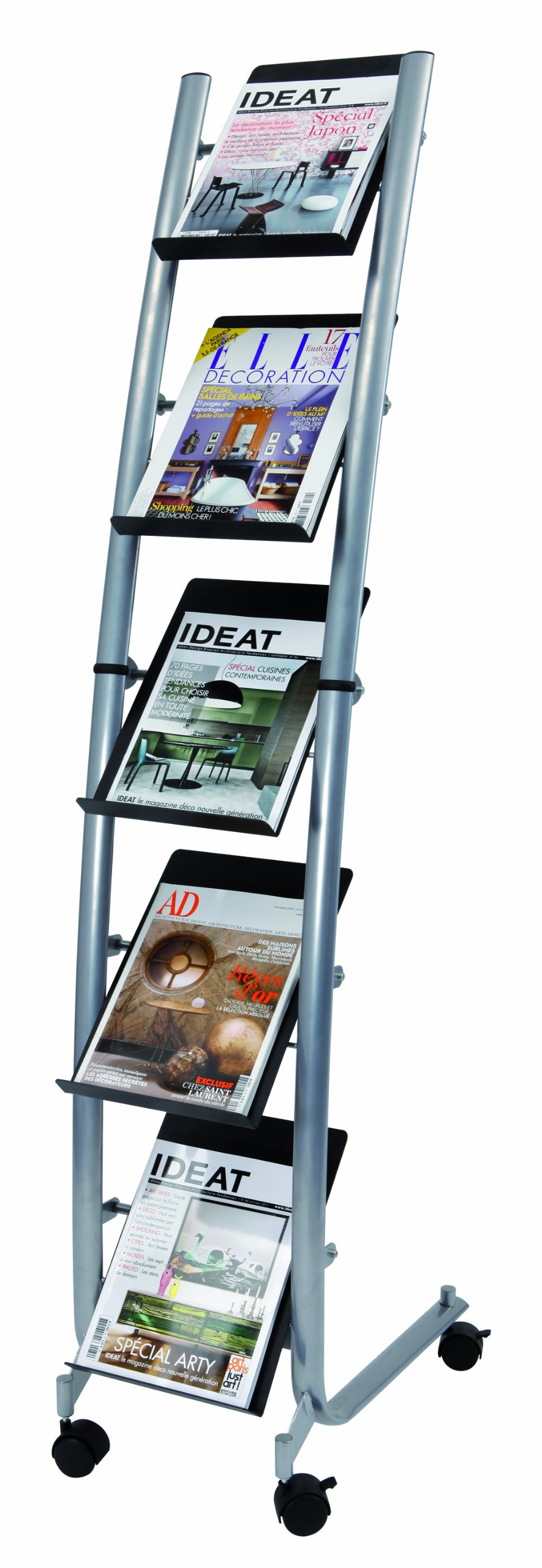 Alba Narrow Mobile Literature Display, 5 Levels, Metallic Gray and Black (DD5PM)