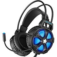EasySMX Gaming Headset with Surround Sound Stereo, Mic & LED Light (Cool 2000 Blue)