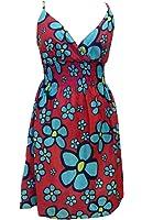 100% Cotton Red & Green Daisy Print Short Sundress - Fair Trade