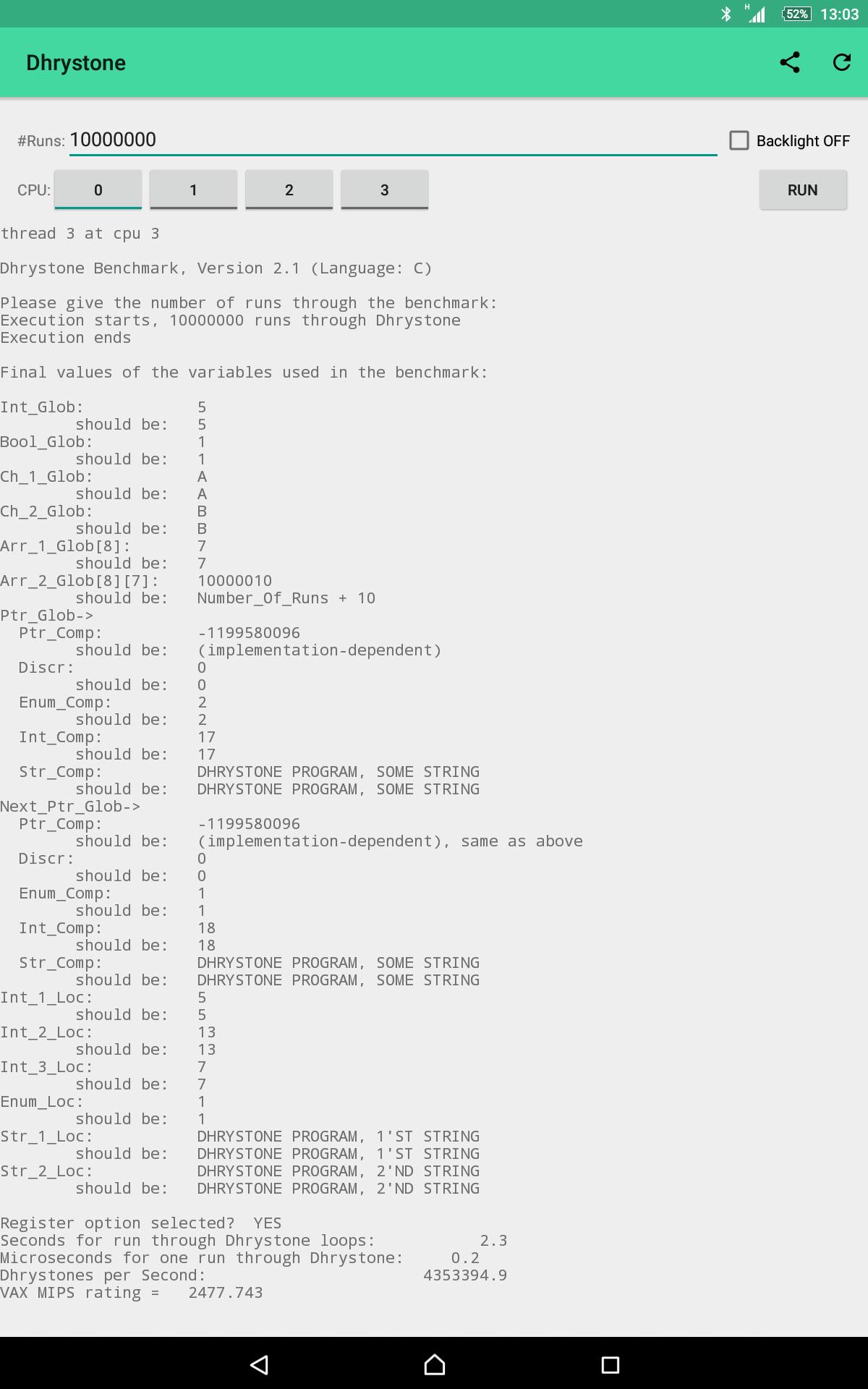 DHRYSTONE MIPS PDF