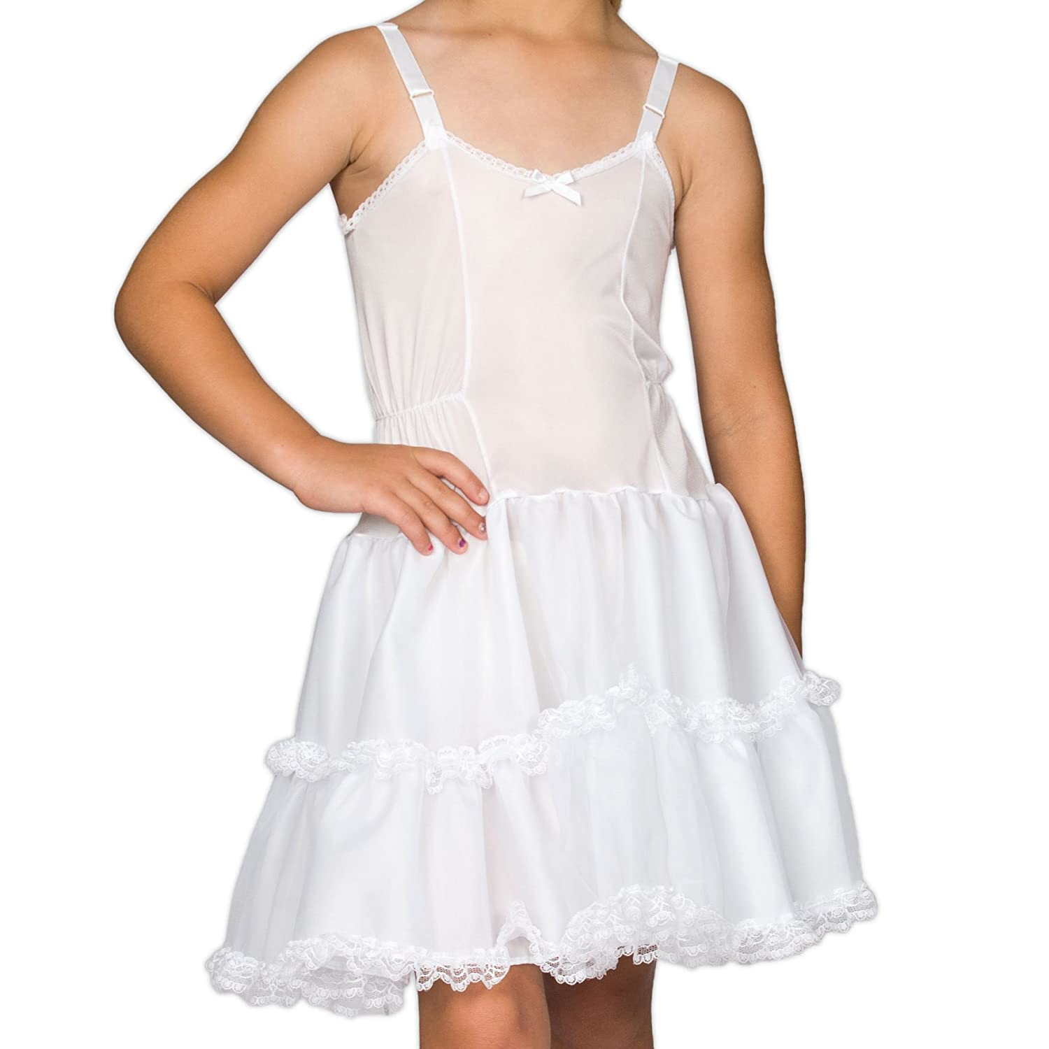 1124f244a0f30 I.C. Collections Girls White Bouffant Slip Petticoat - Lace Embellished,  8-14